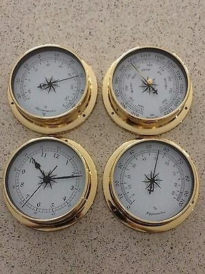 Weather Station 4 pcs/set 115mm Brass Barometer /Thermometer/ Hygrometer /Clock