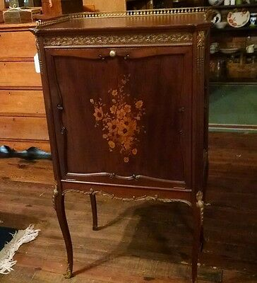 Antique French Music Cabinet w/ Floral Marquetry - Ormolu in Brass/Bronze