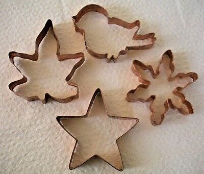 VTG Lot of 4 Christmas Snow. Star Bird Leaf Large Copper Cookie Cutter/Ornaments