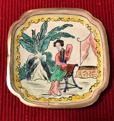 Small handpainted enamel over brass dish