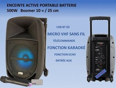 Enceinte Active 500W Led Usb Bleutooth Fonction Karaoke Micro Vhf Sans Fil Light