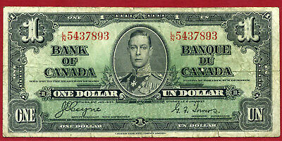 """Canada $1 1937 Coyne-Towers """"l/n5437893"""" (75-69)  Used Free S & H"""