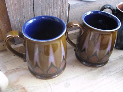 "Denby Tudor Flame 2 x mugs brown exterior blue inside   4"" tall"