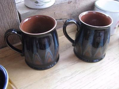 "Denby Tudor Flame 2 x mugs blue/black exterior brown inside   4"" tall"