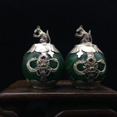 A pair of jade collection, Tibet silver hand carved statues of rat .