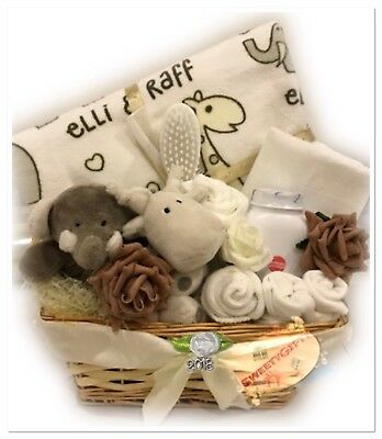 Unisex Baby Gift Basket Hamper Neutral Afterbath Essential Maternity Baby Shower