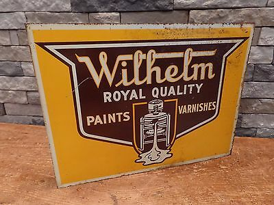 "Wilhelm Paints & Varnishes Flange Sign Vintage Double Sided 18"" x 13"" Made in US"