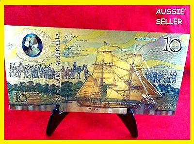 $10 Gold Collectable Banknote 1988 Australia + Stand Colour  Dollar Note