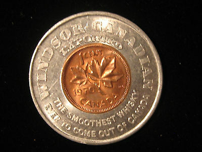 Canadian Encased Coin Good Luck Penny 1970 Windsor, Ontario Canadian Whiskey