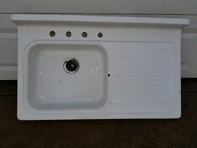 "Antique Vintage Cast Iron Porcelain Farmhouse Kitchen Sink 42"" Original and Old"