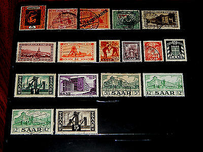 Saar stamps for sale - 17 mint hinged and used early stamps - very nice !