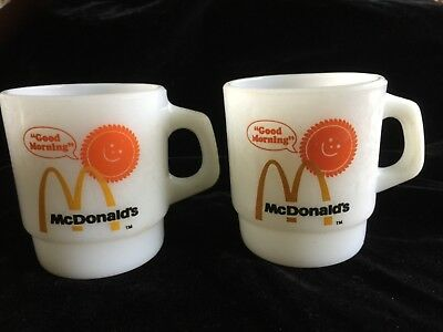 "2 Vtg Fire-King McDonald's ""Good Morning"" Stackable Coffee Mugs Cups"