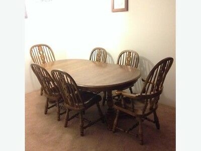 Kling Colonial Solid Oak Dining Table And Six Chairs Burnaby Incl