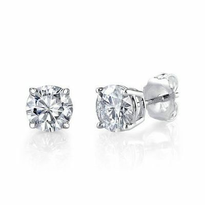 1/2ct 14K White Gold Round Natural ( Real) Diamond Stud Earrings
