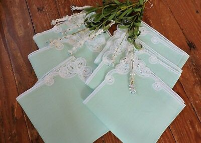 Vintage green dinner napkins with  white lace insert  set of 6