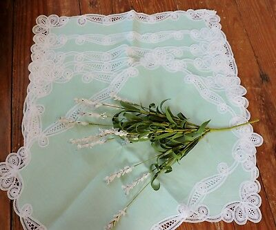 Vintage green dinner placemats with  white lace insert and trim  set of 6