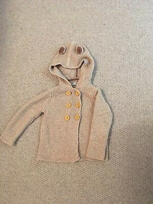 Baby Boden knitted jacket 12-18 months, Oatmeal with bear ears