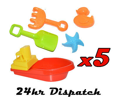 5 X Large Red Boat & Sand Sets Floating Childrens Kid Bath Tub Time Plastic Toy