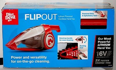 Dirt Devil Flipout 16V Lithium Powered Cordless Hand Vac, Red - Brand New