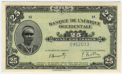 French West Africa 1942 Issue 25 Francs Very Crisp Vf-Xf.pick#30.