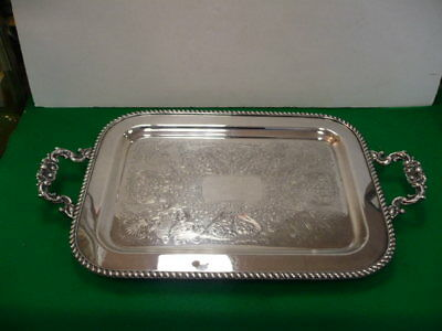 Large Antique Silver Plate Footed Serving Tray