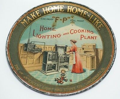 Antique TIP TRAY, INCANDESCENT LIGHT & STOVE COMPANY, SUPER GRAPHICS, C.1900