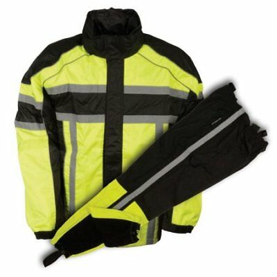 Motorcycle Waterproof Rain Suit w/ Jacket & Pants Set Reflective Piping