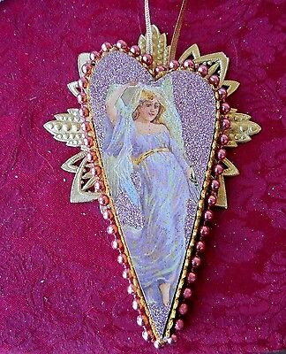 Antique Victorian Repro CHRISTMAS Ornament -  ANGEL w/TINSEL, BEADS & GLITTER