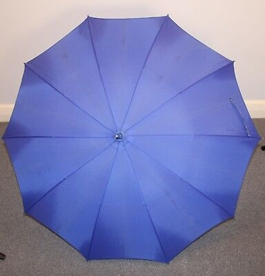 BLUE, ORIGINAL VINTAGE 1960s UMBRELLA