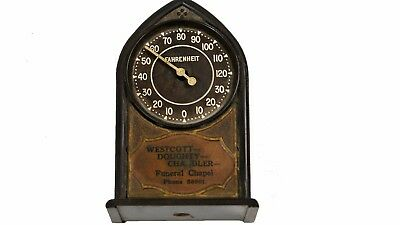 Small Vintage Funeral Chapel Advertising Thermometer