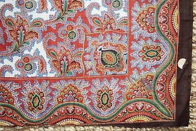 "Antique 1820 French Cotton Resist & Block Print Bandana Sample Fabric 17"" Square"