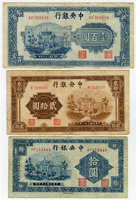 China 1941-1944 Issue Central Bank 10,20,100 Yuan Lot Of 3 Banknotes Scarce.