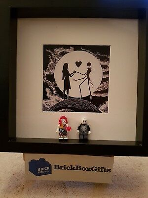 Nightmare before Christmas Lego minifigure 3D Frame Jack Sally Tim Burton b & w