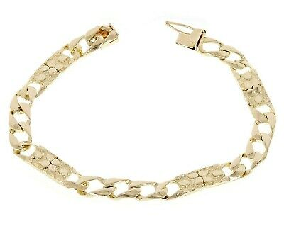 "10K Solid Yellow Gold 7.5"" Cuban Link Nugget Style Chain Bracelet 11 g, 6.75 mm"