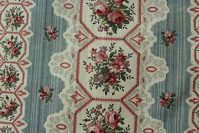 Antique 1870 French Printed Pink Rose & Lace on Home Cotton Fabric Sample