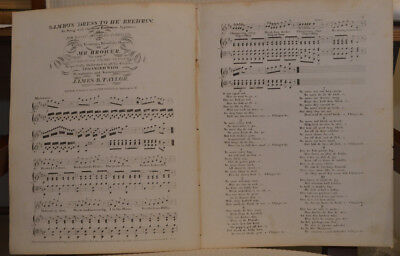 c.1833~SAMBO'S 'DRESS TO HE' BRED'RIN~Very Rare Black Americana Sheet Music Song