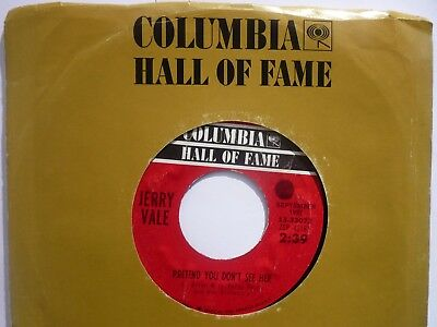 """Rare US Columbia Hall of Fame 7"""" Jerry Vale: """"Pretend you don't see her"""""""