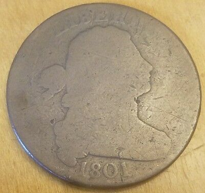 1801 Large Cent Draped Bust Flowing Hair Copper US Type Coin Great Color & Date