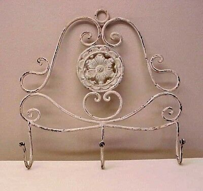 Vintage Iron Wall Hanging Three Hooks Floral Rosette Center Scrolls Shabby Chic