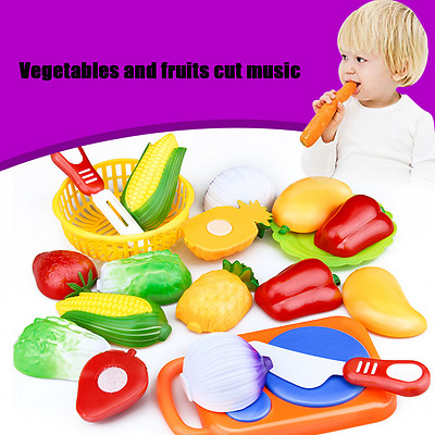 12PC Cutting Fruit Vegetable Pretend Play Children Kid Educational Toys Hot US