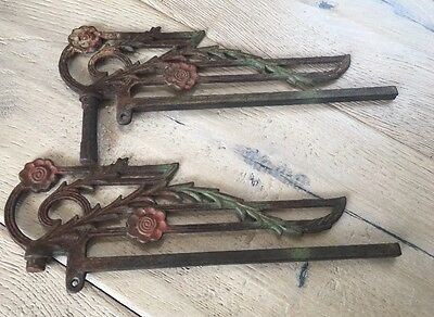 Antique Late 1800s Art Nouveau Cast Iron Curtain Swing Arm Pieces