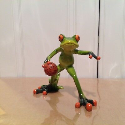 Frog playing basketball  NIB figurine