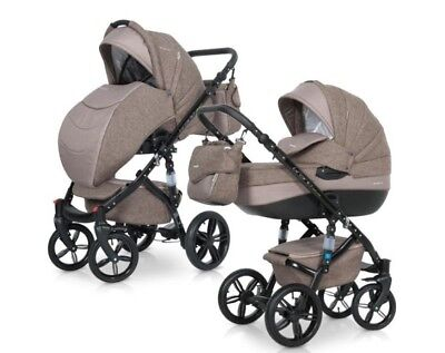 RIKO BRANO NATURAL PRAM 3in1 CARRYCOT + PUSH CHAIR + CAR SEAT + EXTRAS !!!