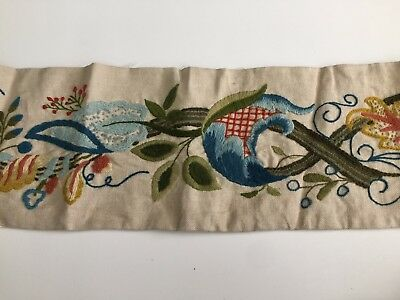 Swedish vintage 1920s handwoven floral embroidered wallhanging tapestry or rug