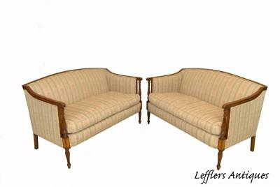 Antique Pair Federal Style Loveseats / Settee Wood Trim With Upholstery