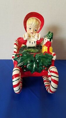 Vintage Lefton Girl in Candy Cane Sleigh Sled Christmas Gifts Japan Signed 1956