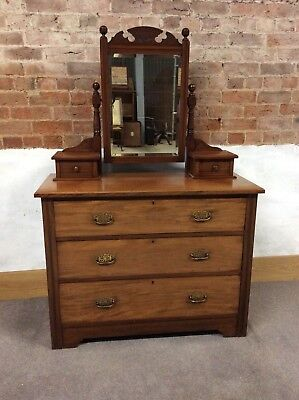 Attractive Large 3 Drawer Antique Victorian Carved Mahogany Dressing Table Chest