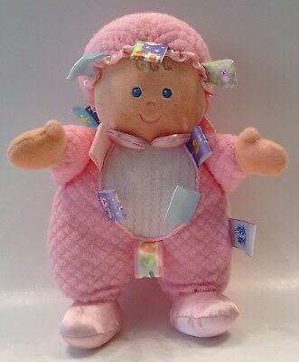 """10"""" Mary Meyer TAGGIES TAGGIE PINK WHITE BABY INFANT GIRL DOLL"""