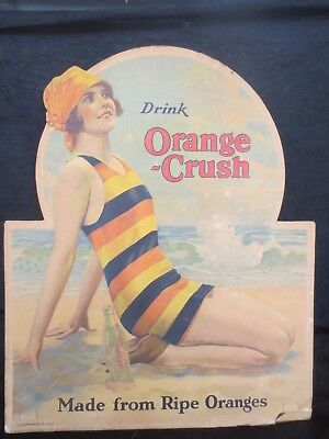 Extremely Rare 1920's / 1930's Orange Crush Cardboard Sign, Woman on the Beach