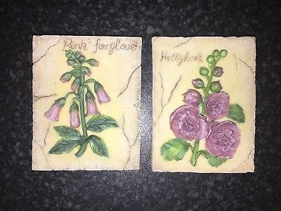 Vintage Shabby Chic/Country style small hanging wall plaque set of 2
